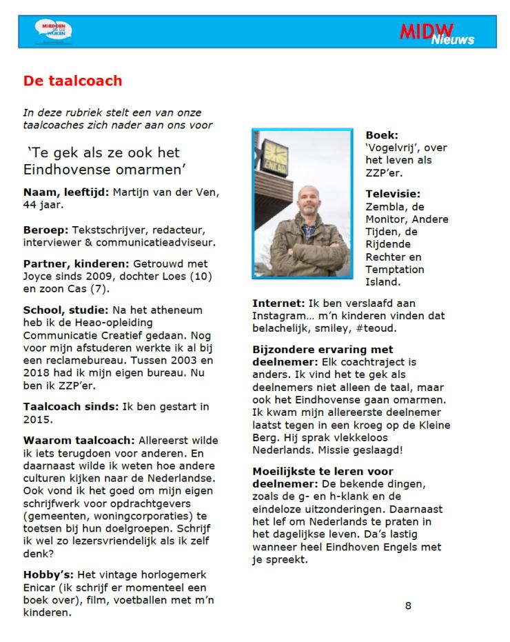 taalcoach Martijn van der Ven Humanitas Enicar